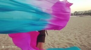 Una chica en la playa con los abanicos - fan veils